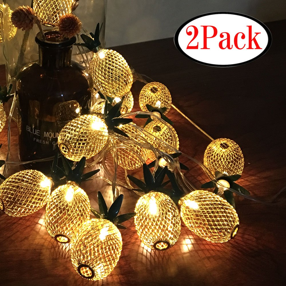 WHonline 2 Pack Pineapple String Lights - Each String Light 8ft 10 LED for Party and Home Decoration (Warm White)
