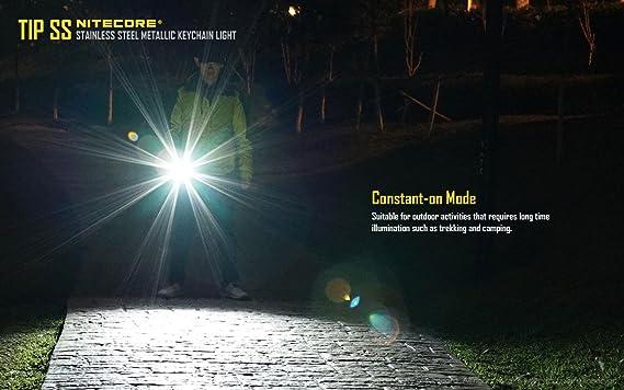 Nitecore Tip SS Keychain Flashlight (Black) -360 Lumens -CREE XP-G2 S3 LED w/Eco-Sensa USB Cord & Clip - - Amazon.com