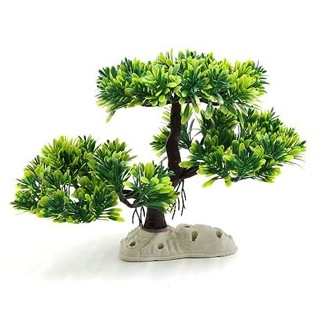 sourcingmap® Plástico Verde Árbol De La Planta Peces De Acuario Tanque De Agua Paisaje De