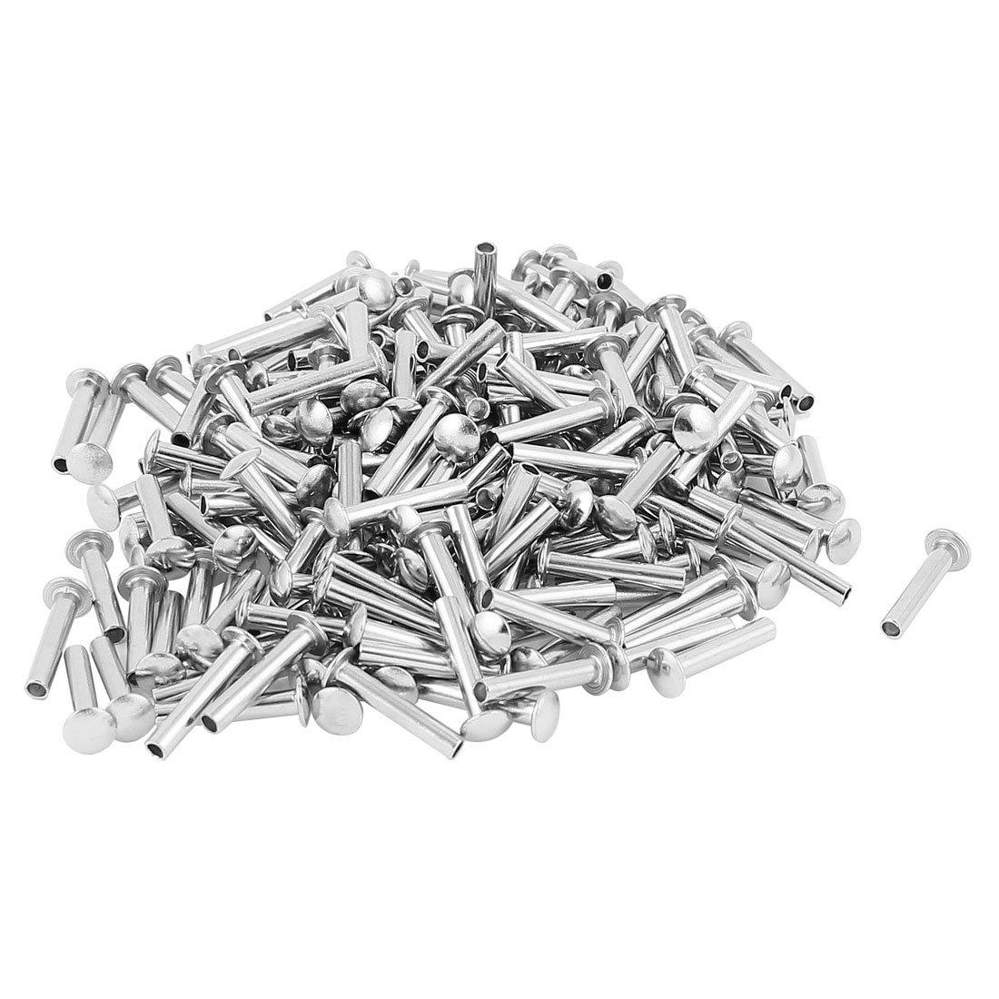 200 Pcs M3 x 16mm Nickel Plated Truss Head Semi-Tubular Rivets