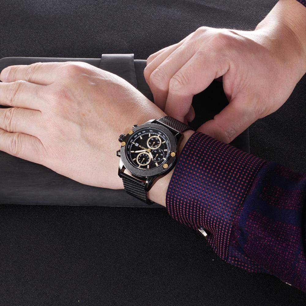 Armbandsklockor, sport vattentätt nätbälte fritid kvartsur individuell trendklocka Black Shell Black Belt