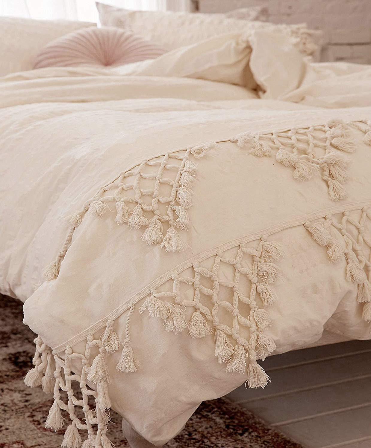 Flber Ivory Duvet Cover Boho Cotton Tassel Bedspreads Comforter Quilt Cover Full Queen,86inx90in