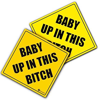 "Zone Tech ""Baby Up in This Bitch Vehicle Safety Sticker - 2-Pack Premium Quality Convenient Reflective Baby Up On This Bitch Vehicle Safety Funny Sign Sticker: Automotive"