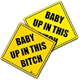 "Zone Tech ""Baby Up In This Bitch"" Vehicle Safety Sticker - 2-Pack Premium Quality Convenient Reflective ""Baby Up On This Bitch"" Vehicle Safety Funny Sign Sticker"