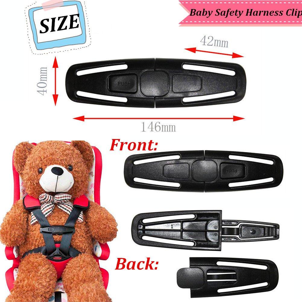 Clips para el cintur/ón de seguridad Ajuste del sujetador de la hebilla Veh/ículo Posicionador cintur/ón de seguridad Clip 2 piezas Ajustador del cintur/ón de seguridad para el autom/óvil Negro