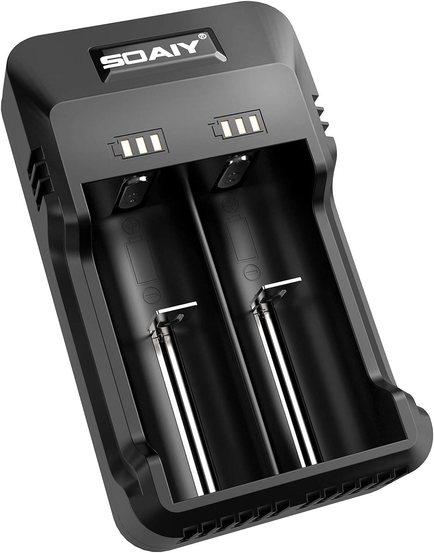 SOAIY Intelligentes Akku-Ladegerät Universal Ladestation für 3,7 V Li-Ion 26650/18650 1,2 V NI-Mh/NI-CD AA/AAA Akkus mit LED Anzeige