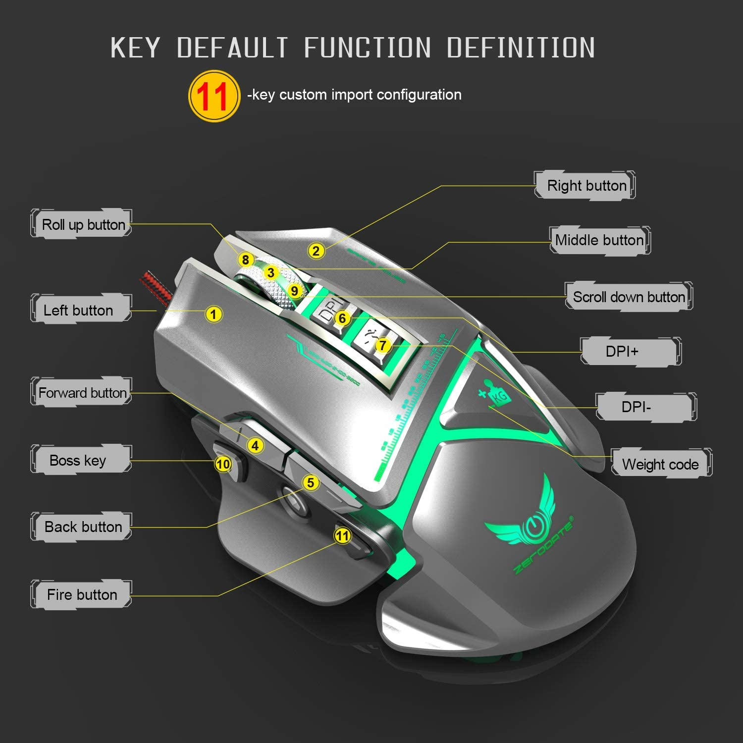 BEESCLOVER 11 Keys Game Mouse Colorful Mac-ro Programming Mouse Free Disassembly Comfortable Grip 3200dpi Adjustable for Zze-rodate X400GY Black