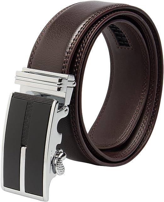 "Men's Designer Leather Dress Belt With Automatic Buckle Holeless Black M 34-36/"""