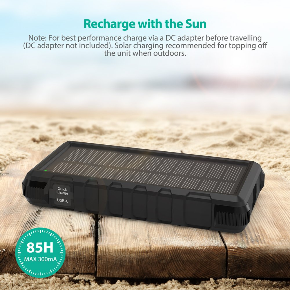 Solar Charger RAVPower 25000mAh Outdoor Portable Charger with Micro USB & USB C Inputs, Quick Charge Solar Power Bank with 3 Outputs, External Battery Pack with Flashlight - Shock, Dust & Waterproof by RAVPower (Image #2)