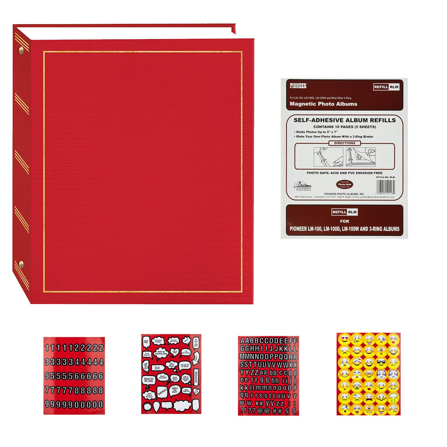 Pioneer Magnetic Self-Stick 3-Ring Solid Cover Photo Album 100 Pages (50 Sheets) with Pack of 10 Magnetic Photo Album Refill Pages (5 Sheets) + 4 Pages of Emojis Stickers (Red)