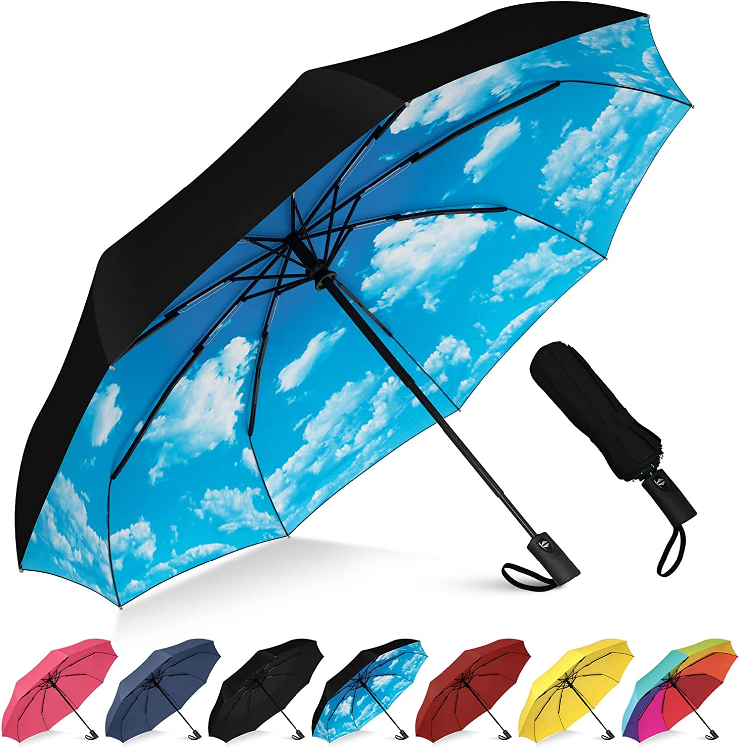 Turtle Outline Compact Travel Umbrella Windproof Reinforced Canopy Ergonomic Handle Auto Open//Close Multiple Colors