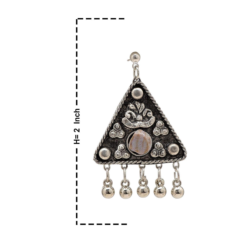 Color Lane Fashion Oxidized Alloy Earrings White Glass Beaded Triangular Shaped For Women//Girls