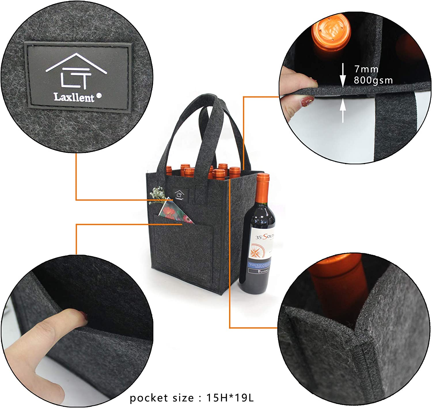 Thick Felt Wine Bottle Carriers Tote Bag,Reusable Washable with Removable Divider,Wine Gift Bag for Picnic BBQ Party