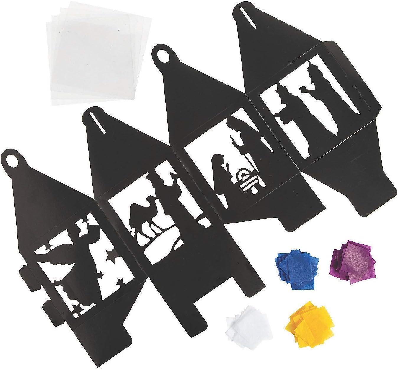 3D Tissue Paper Nativity Lantern Craft Kit Makes 12
