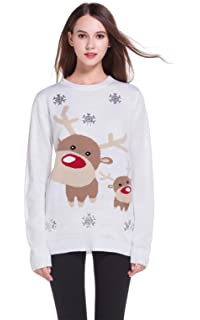 daisysboutique      Women s Christmas Cute Reindeer Knitted Sweater Girl  Pullover 3cb34cdd2