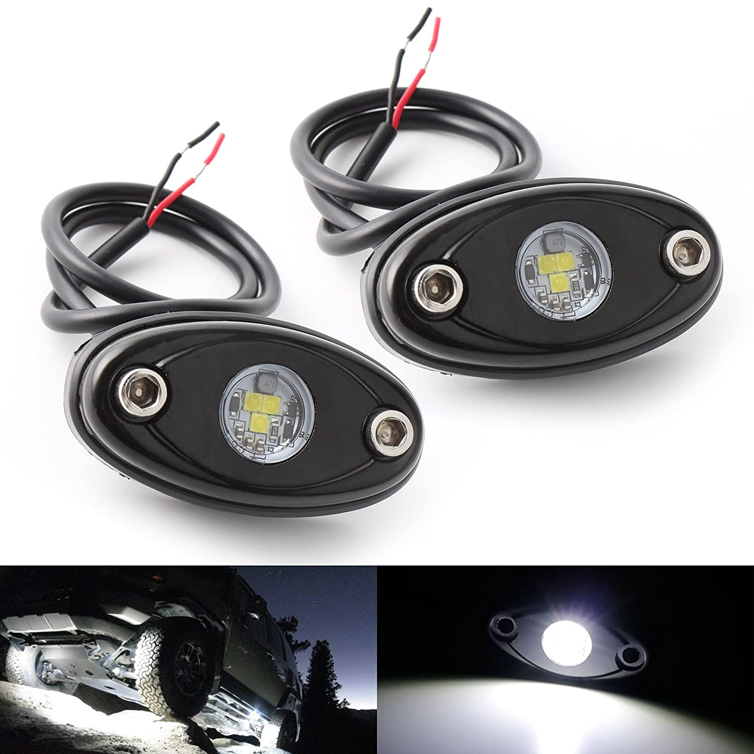 Ledmircy Led Rock Lights White Kit For Jeep Off Road Sale 10pcs Universal Light Bar Wiring Harness Truck Auto Car Boat Atv Suv Waterproof High Power Underbody Glow Neon Trail Rig