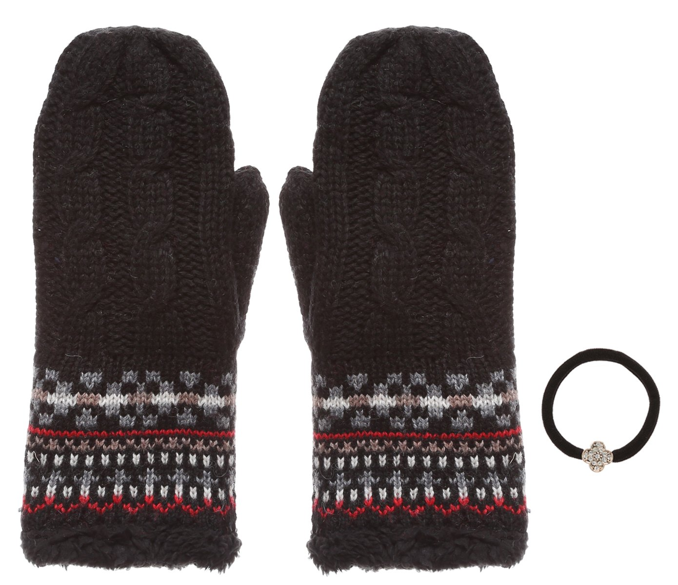 Women's Winter Wool Blend Cable Knitted Mitten Plush Lining Gloves with Hair Tie.(413,Black)