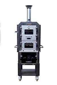 EcoQue ECO-71010-STPK Generation 3 w/Starter Accessories Wood-Fired Oven & Smoker, Black & Stainless Steel