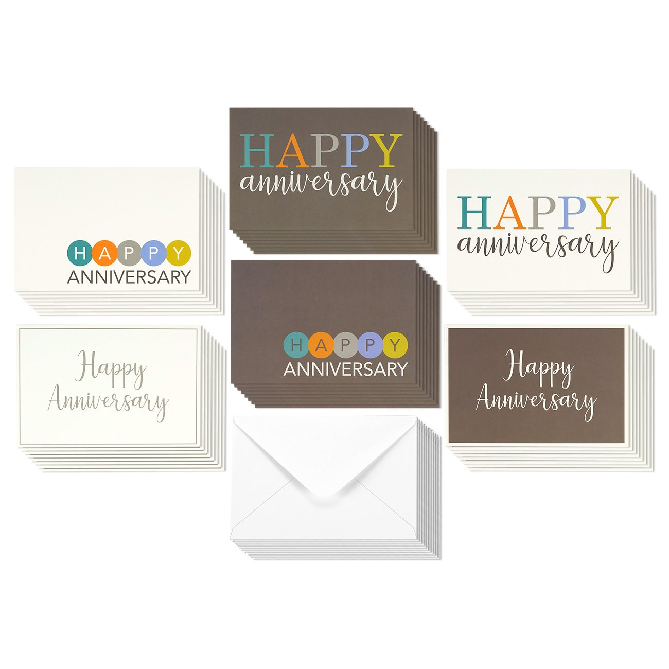 36 Pack Happy Anniversary Greeting Cards 6 Modern Multi Color Embellished Style Designs Bulk