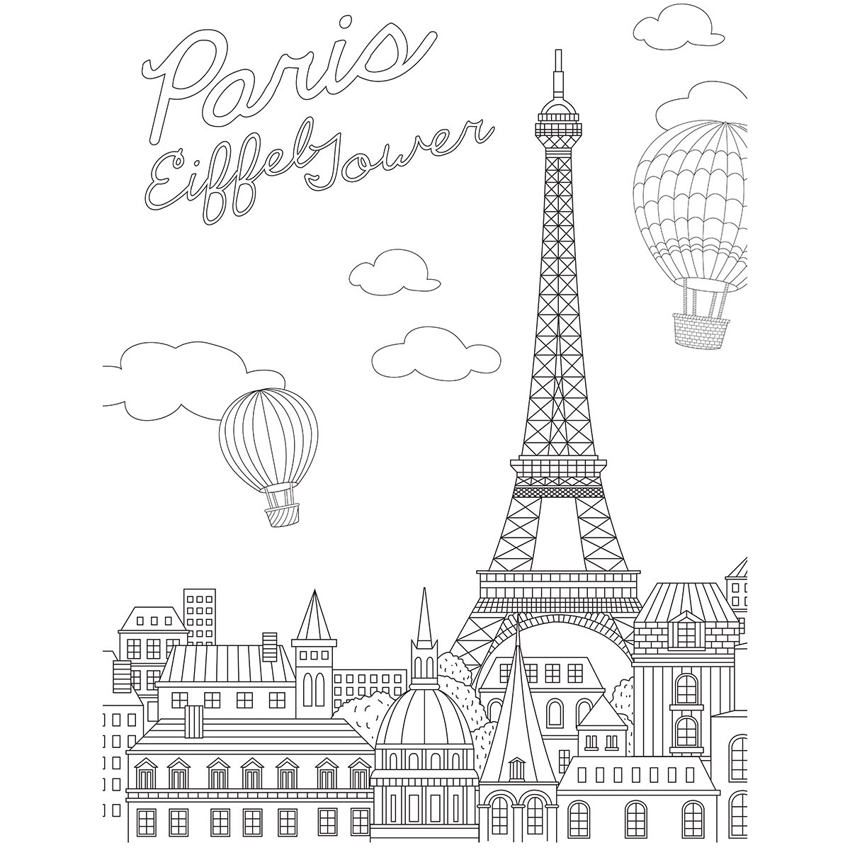 KaiserColour Coloring Poster 27'X19'-Eiffel Tower