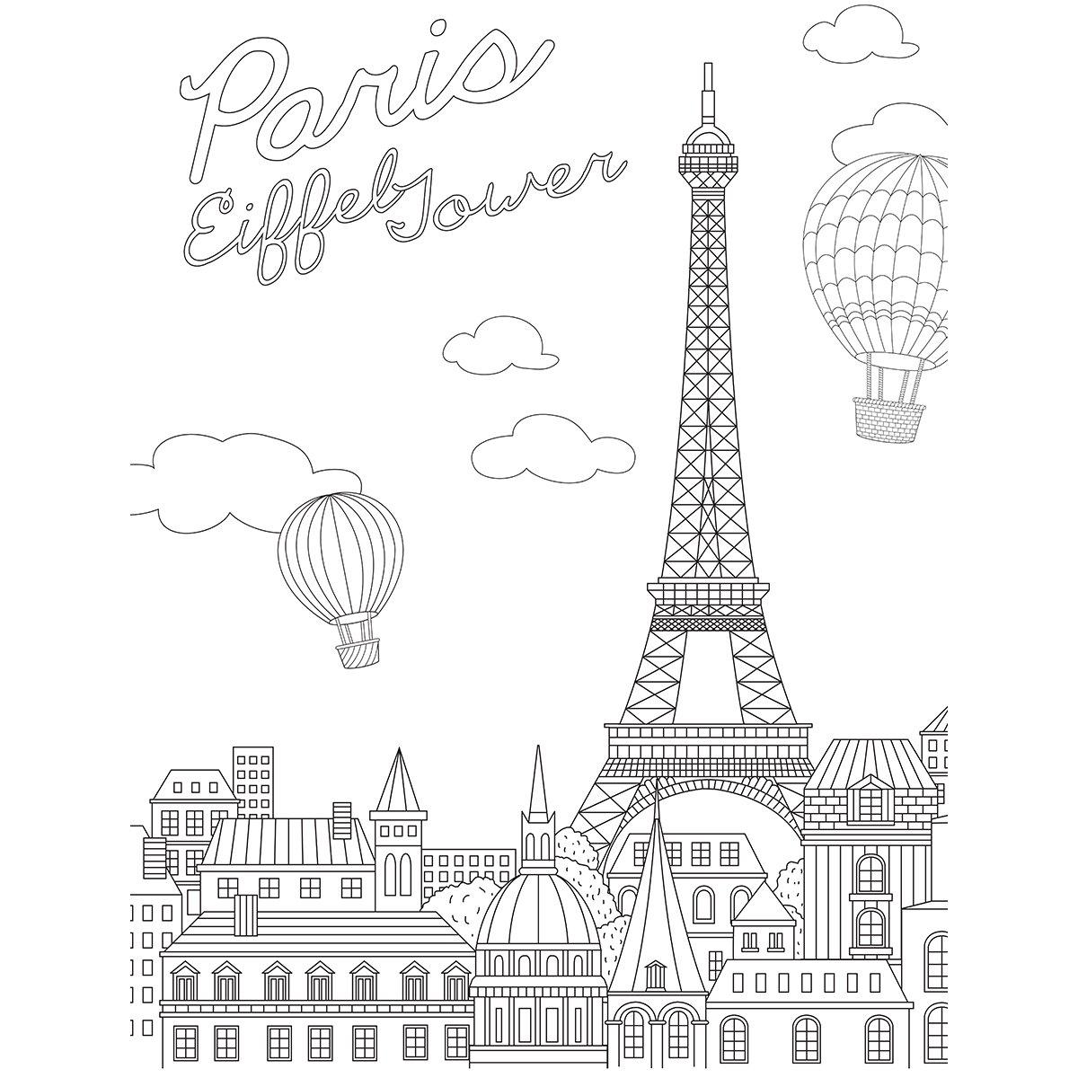 KaiserColour Coloring Poster 27''X19''-Eiffel Tower