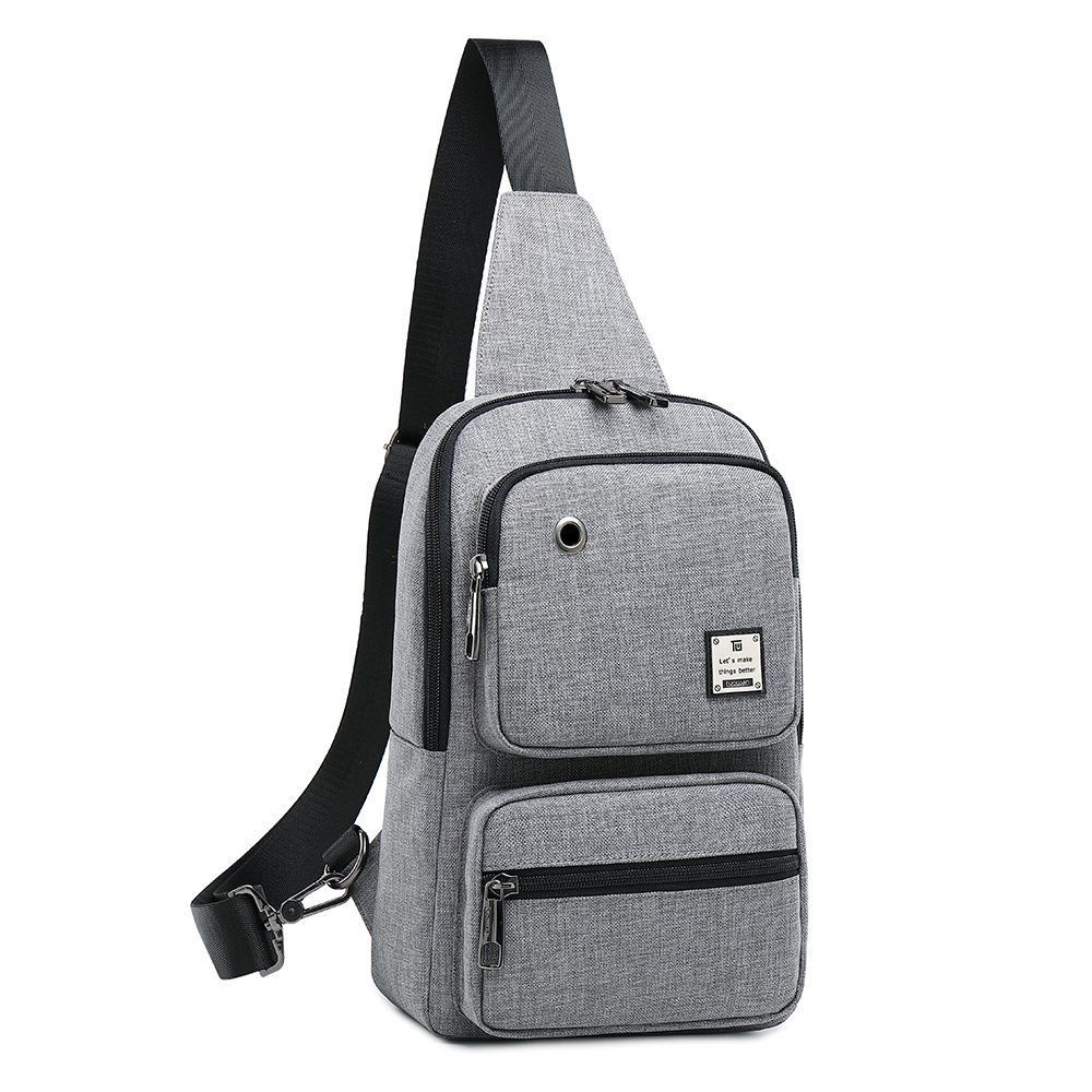 Sling Bag, Sling Backpack Outdoor Crossbody Chest Pack Bag Multipurpose Daypack (1808#Grey)
