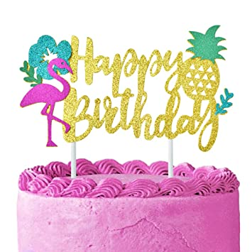 KREATWOW Flamingo Pineapple Cake Topper Birthday Picks For Hawaiian Luau Tropical Theme Supplies