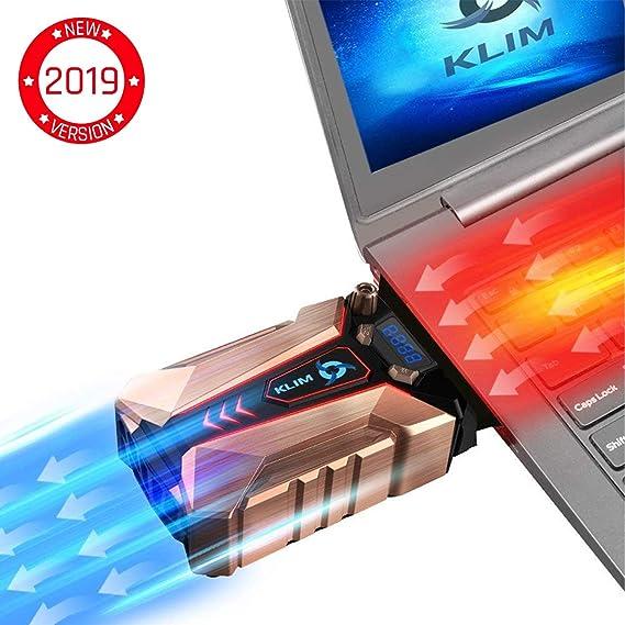 KLIM Cool + Refroidisseur PC Portable en Métal - Le Plus Puissant - Extracteur d' Air USB pour Refroidissement Immédiat - Ventilo - Nouvelle Version 2019