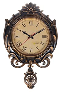 JaipurCrafts WebelKart Plastic Decorative Retro Antique Pendulum Wall Clock (16x12inch, Gold)
