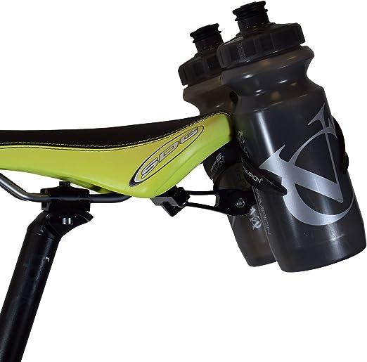 VeloChampion Montura Portabotellas Doble para Sillín de Bicicleta – para Triatlones – Metal Negro: Amazon.es: Deportes y aire libre