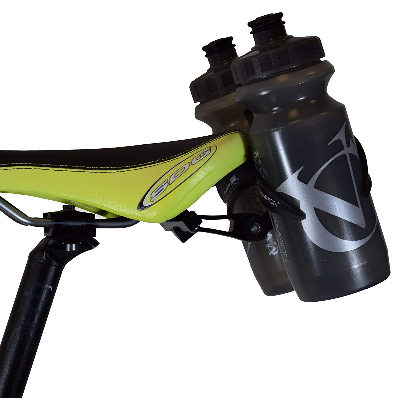 VeloChampion Double Water Bottle Cage Mount - Alloy Black for Cycling Triathlon Bike