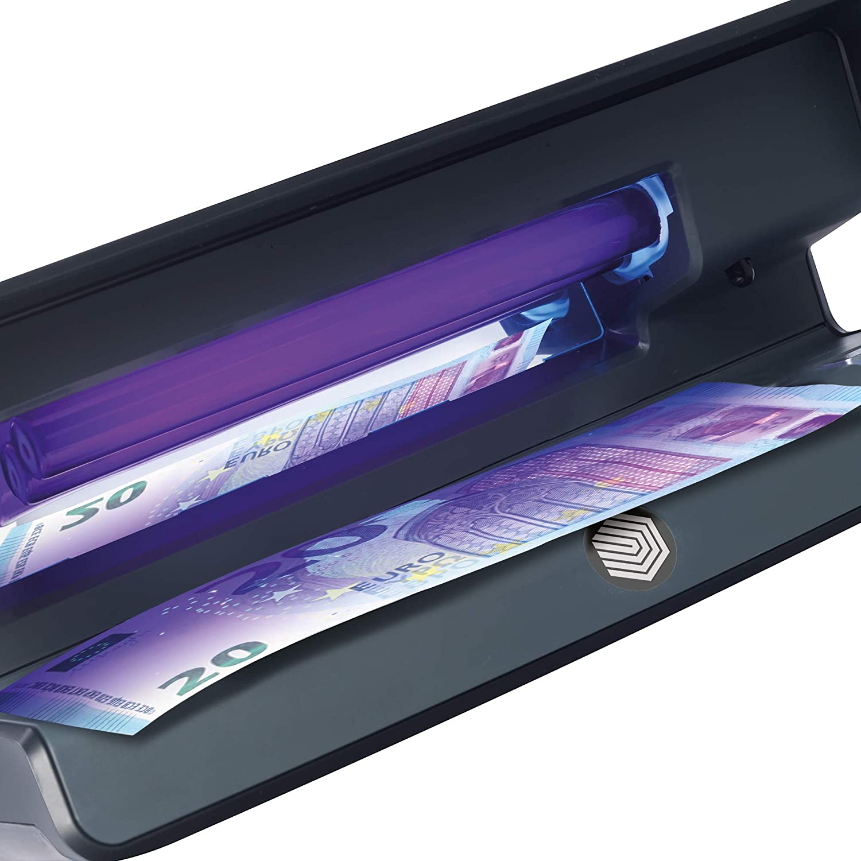 carte di credito e documenti didentit/à. Verificatore di contraffazione UV con luce bianca LED per il rilevamento di filigrana e microstampa verifica banconote Safescan 70 Black