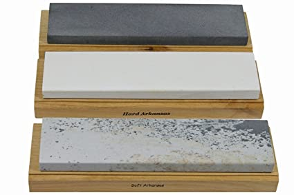 Arkansas Sharpening Stone Set - Wood Mounted 6