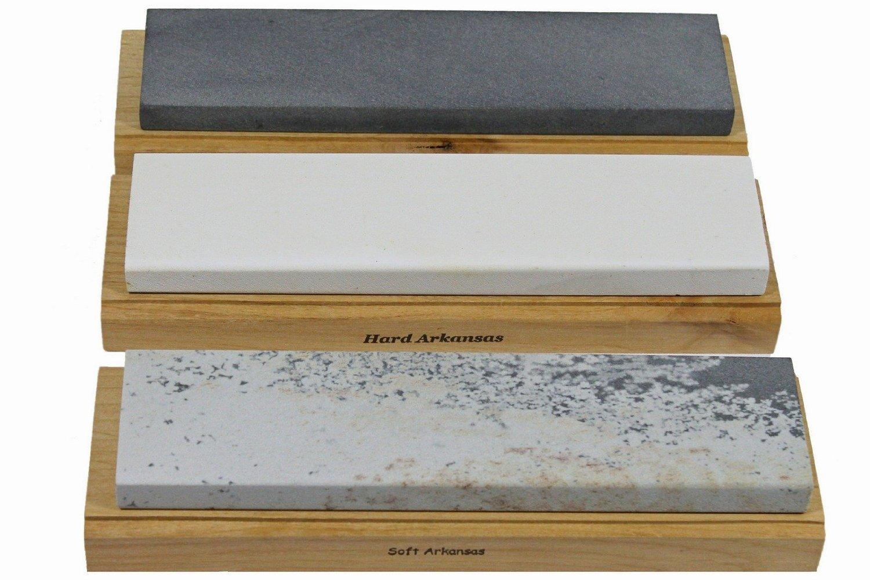Arkansas Sharpening Stone Set - Wood Mounted 10''