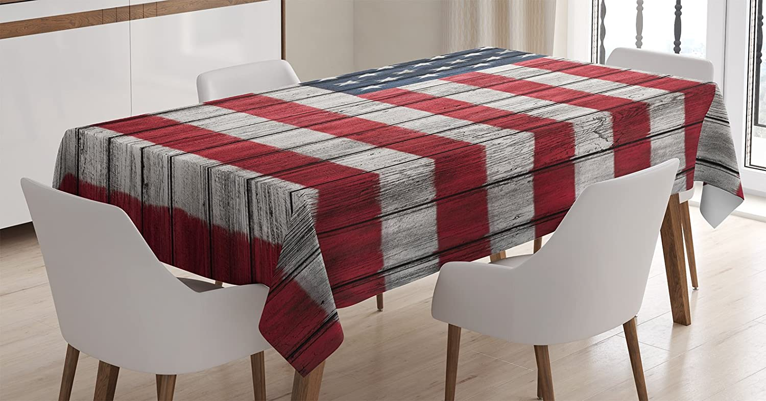 """Ambesonne USA Tablecloth, Fourth of July Independence Day Adorn National Democracy Art Rough Wood Print, Rectangular Table Cover for Dining Room Kitchen Decor, 60"""" X 84"""", Red Blue"""