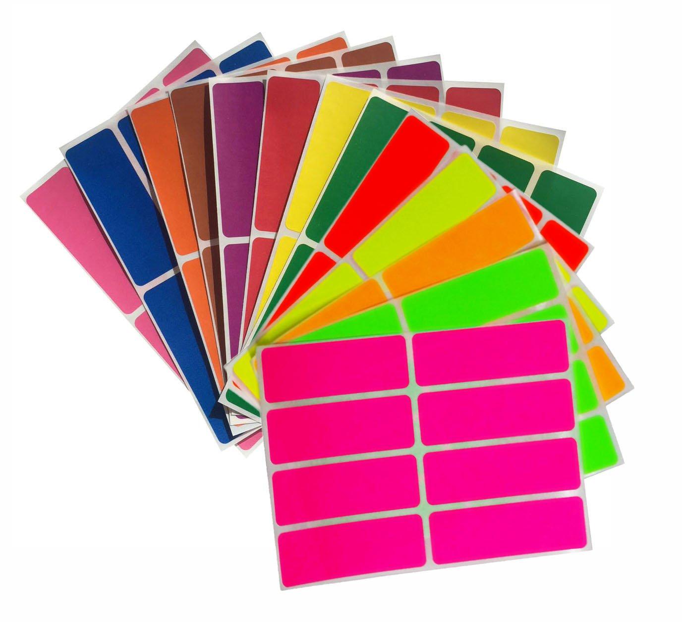 in verschiedenen Farben Gr/ö/ße 7,5 cm x 2,5 cm viereckige Etiketten 120 Vorteilspack von Royal Green Aufkleber Neon Gelb 76 mm x 25 mm rechteckige Sticker