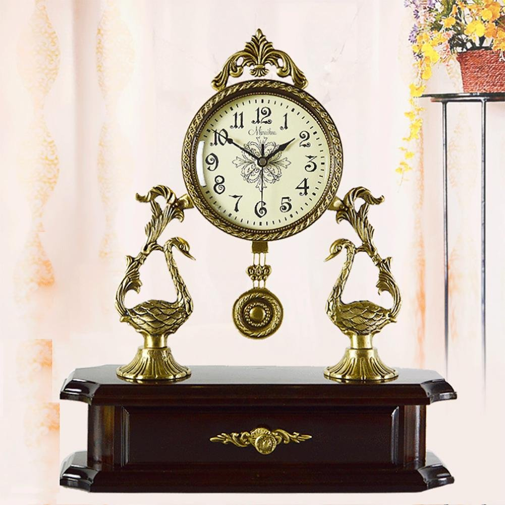 MCC Swing Desk table clock pure copper solid wood accessories decoration living room bedroom store European antique simple fashion creative personality gift , coffee