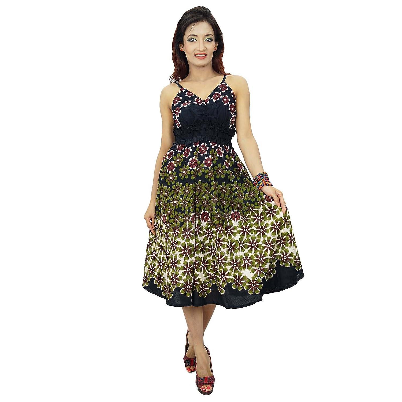 Cotton Floral Spaghetti-Bügel-Schwarz Indian Short ethnischen Kleid Tunika Grösse XXS