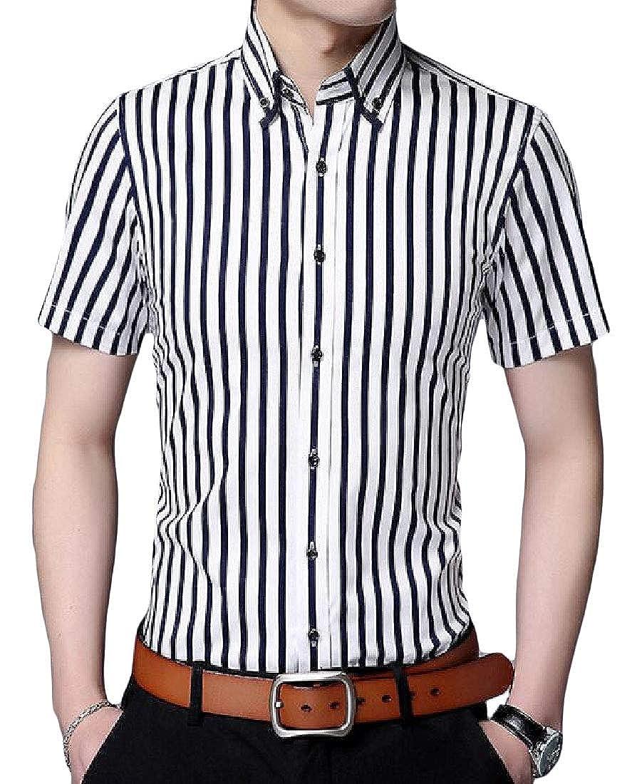 Pandapang Mens Summer Stripe Button Up Slim Fit Short Sleeve Shirts