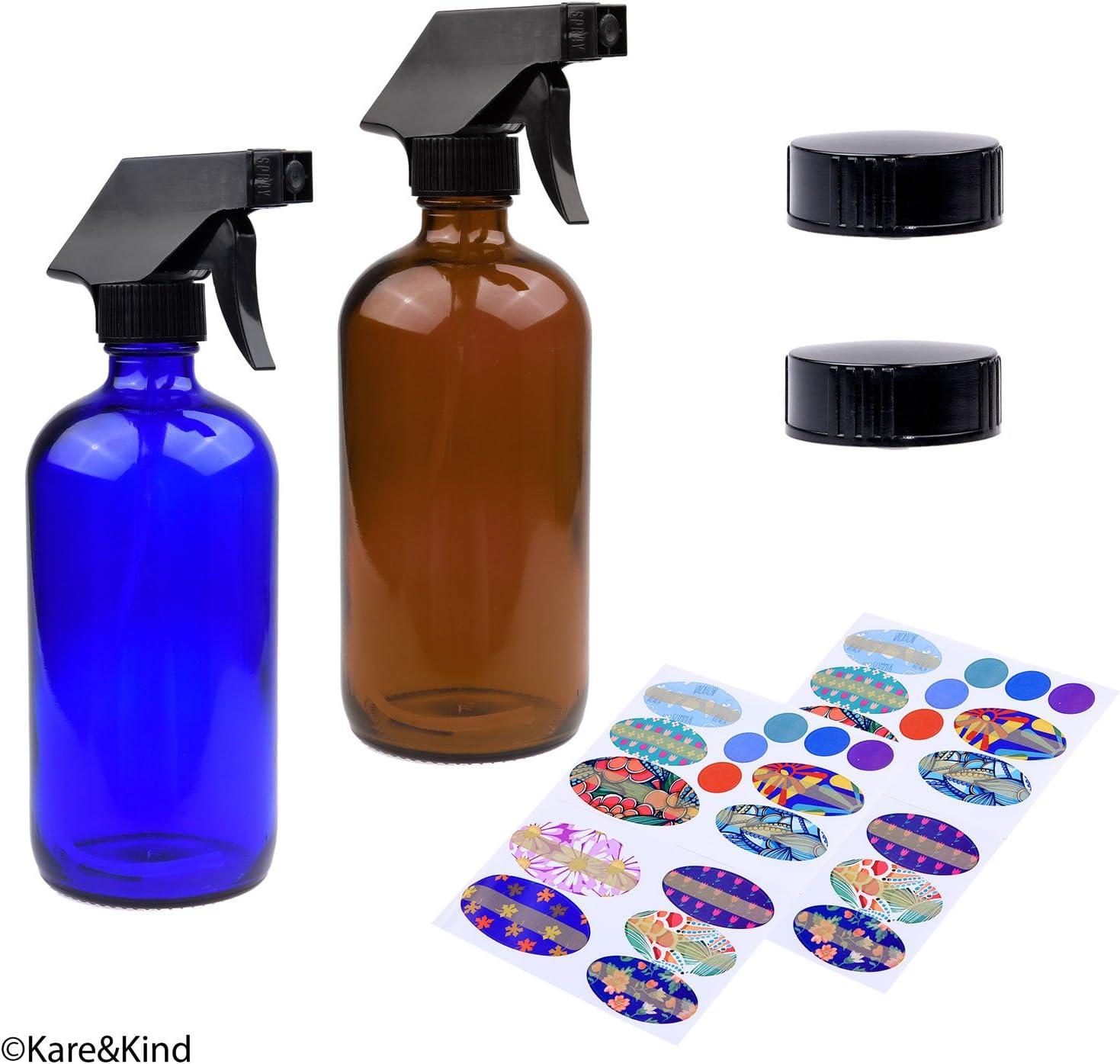 2 Botellas de aceite esencial de 240ml (azul cobalto y marrón ambarino), 2 Atomizadores de Pistola con Vapor, Chorro Potente y Configuración 'Desactivado', 2 Tapas para Almacenamiento, 78 Etiquetas