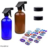 Kare & Kind Essential Oil Bottle Kit. 2 Essential Oil Bottles 240ml/8oz (Cobalt Blue and Amber Brown), 2 Trigger Sprayers with Fine Mist, Powerful Stream and 'Off' Settings, 2 Storage Caps, 78 Labels.