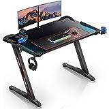 "EUREKA ERGONOMIC Z1-S Gaming Desk 44.5"" Z Shaped Office PC Computer Gaming Desk Gamer Tables Pro with LED Lights…"