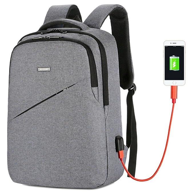 DOGZI Mochila de Hombro Impermeable con Puerto de Carga USB Mochila de Lona y Cuero Resistente al Agua Mochila para portátil Casual Viaje Gran Capacidad ...