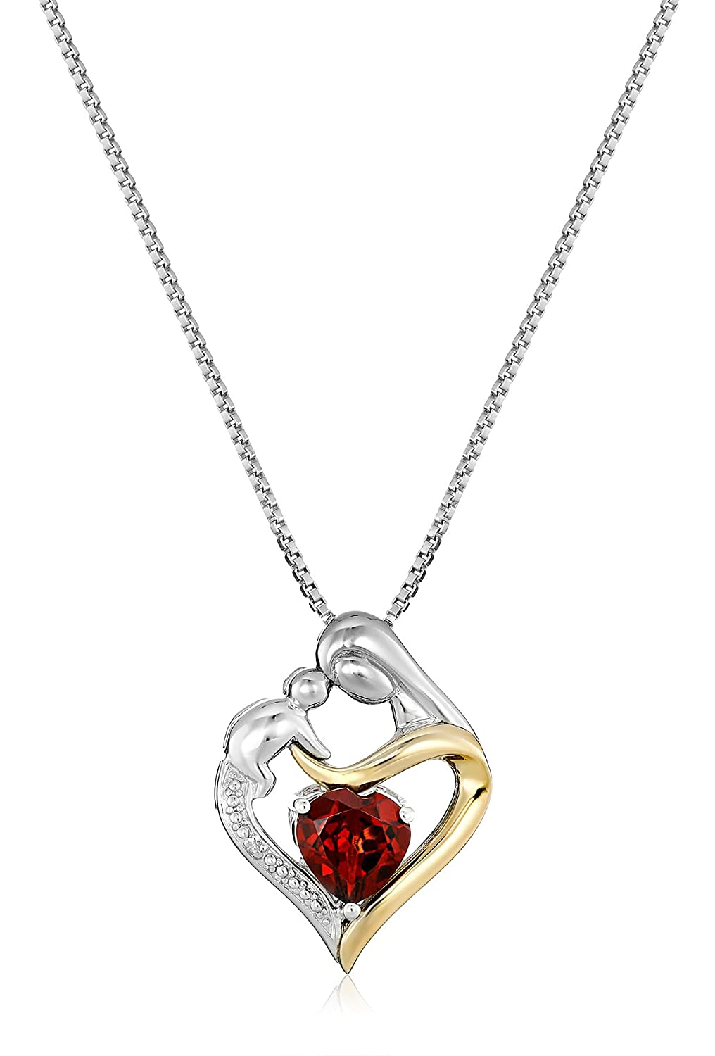 Sterling Silver and 14k Gold Heart Mom Pendant Necklace 18
