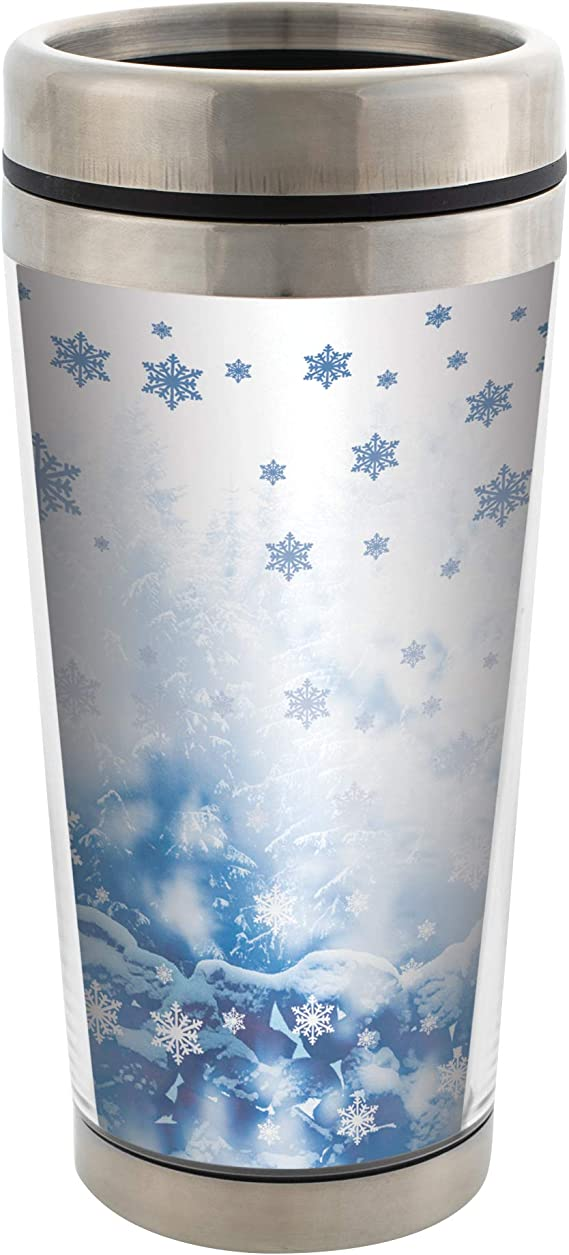 Snowflake And Winter Scene 16 Oz Stainless Steel Travel Mug With Lid Kitchen Dining