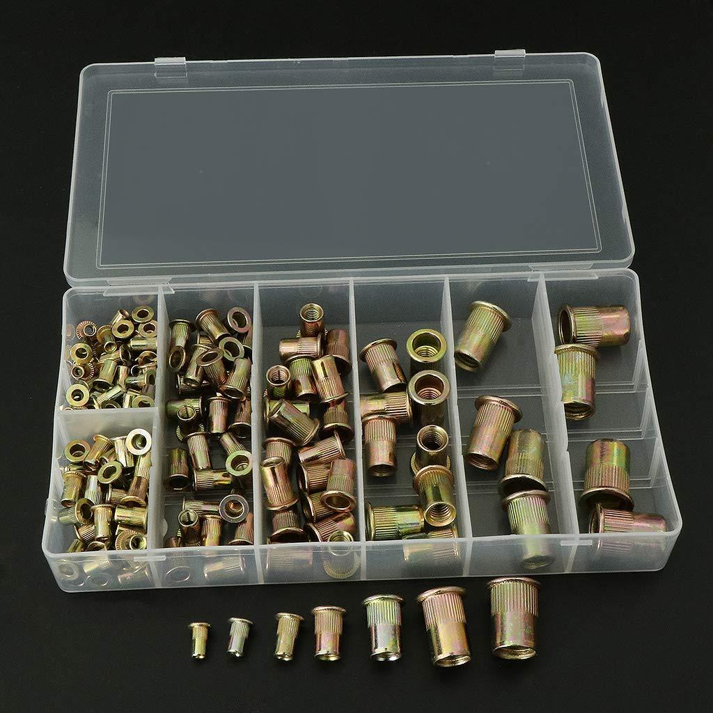 gazechimp Set de Rivet /Écrou en Acier Carbone Outil Plat T/ête Filet/ée Rivet Nut M3//M4//M5//M6//M8//M10//M12
