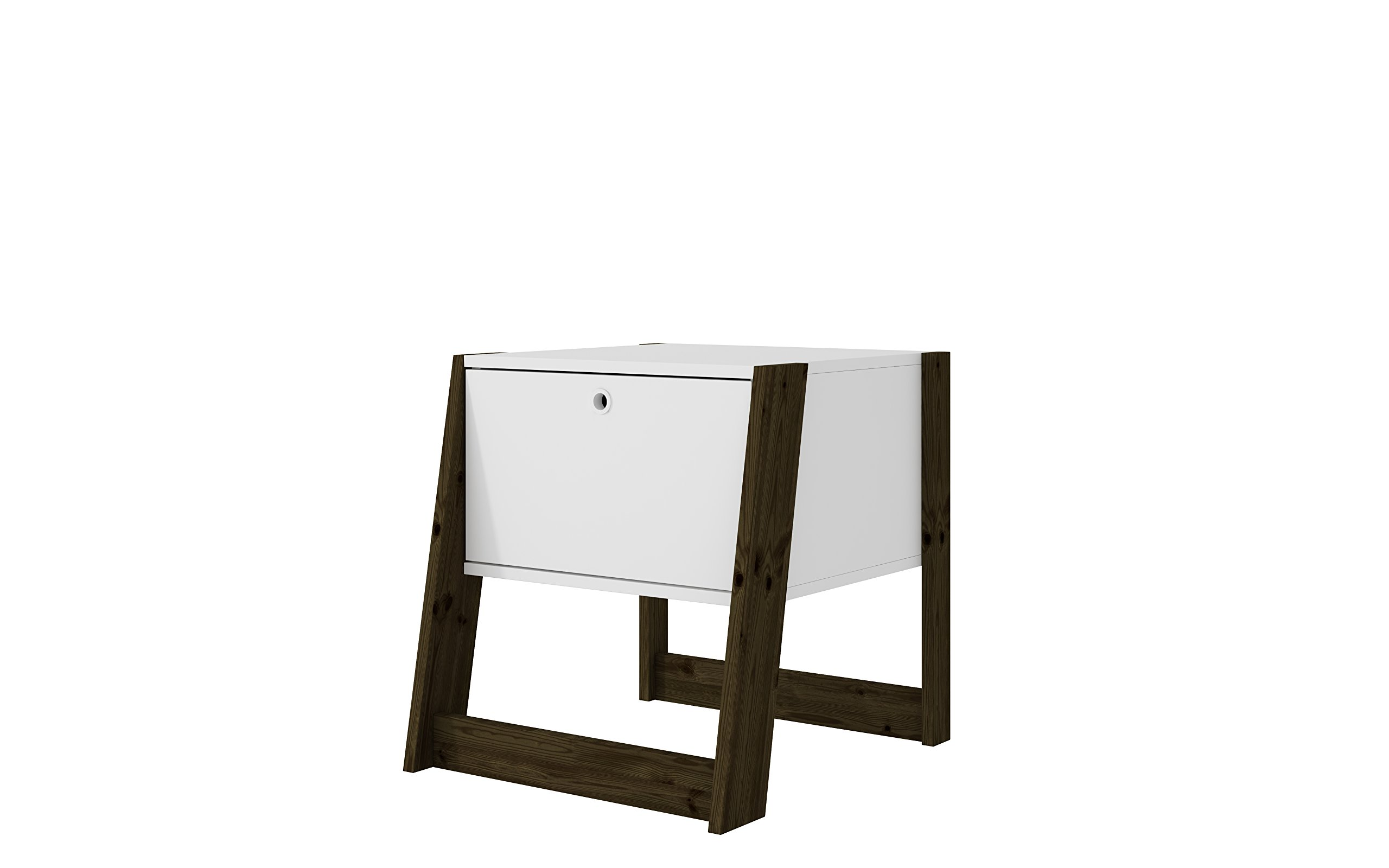 """Manhattan Comfort Salvador Collection Modern Accent Bedroom Nightstand With Wooden Frame and Storage Cabinet, Wood/White - Perfectly Sized: With Great Dimensions of 18.94"""" x 20.28"""" x 21.18"""" and a Total Weight of 21.93 lbs., This Nightstand Can Easily Be Placed By Your Bedside to Provide Practical Storage Space. Designed With a Versatile Appeal, The Dimensions Make it Easy to Arrange in Your Bedroom Durable Craftsmanship: Constructed With Durable Pine Wood, This Piece Has Been Designed to Be Long Lasting For Several Years to Come. The Finished Piece Comes in Multiple Varieties That Enhance The Appeal and Make it a Must Have. The Storage and Drawers are Practical, Making it Easy to Put Away a Variety of Items and Maintain an Elegant Appeal in Your Home Multifunctional Design: This Nightstand has Been Designed to Enhance Your Room Décor and Also Provide a Look of Elegance While Ensuring Your Privacy - This Nightstand Contains Hidden Compartments so Your Personal Items Can Remain Undisclosed and The Top Display Can Be Used For Candles, Confections or Books - This Nightstand Can Be a Bedside or End Table in Your Bedroom - nightstands, bedroom-furniture, bedroom - 716pNBaR1YL -"""