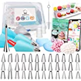 Kitchwise Cake Decorating Supplies Kit Tips 62 Pieces, 36 Stainless Steel Icing Tip Set, 2 Reusable Coupler and 20…