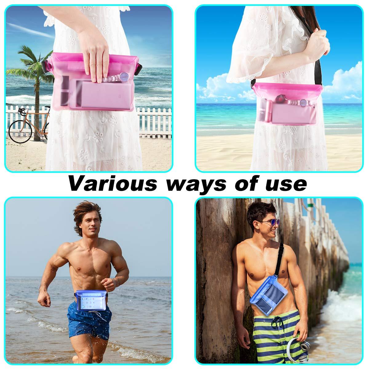 HAISSJKY Bolsa Impermeable con Correa de Cintura Pantalla Sensible Touchable Bolso Seco para Objetos de Valor Tel/éfono para Nataci/ón Snorkel Canotaje Pesca Kayak Pack de 2
