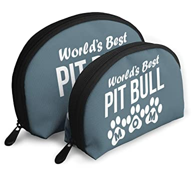 9276ab54236c Amazon.com  World s Best Pit Bull Mom Makeup Bags 2 Pcs Travel Cosmetic  Toiletry Bags Zipper  Clothing